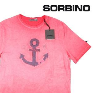 【XL】 SORBINO ソルビーノ Uネック半袖Tシャツ メンズ 春夏 刺繍 ピンク 並行輸入品 トップス|utsubostock