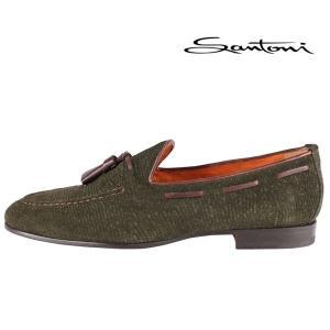 SANTONI(サントーニ) タッセルローファー グリーン x ブラウン 8 【A20950】|utsubostock