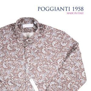 【43】 POGGIANTI 1958 ポジャンティ 1958 長袖シャツ メンズ ペイズリー ブラウン 茶 並行輸入品 カジュアルシャツ 大きいサイズ|utsubostock
