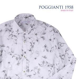 【40】 POGGIANTI 1958 ポジャンティ 1958 長袖シャツ メンズ 刺繍 花柄 ホワイト 白 並行輸入品 カジュアルシャツ|utsubostock