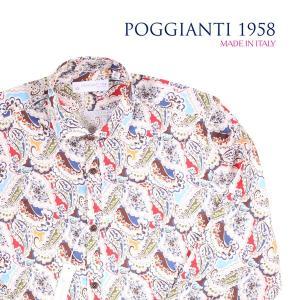 【42】 POGGIANTI 1958 ポジャンティ 1958 長袖シャツ メンズ ペイズリー マルチカラー 並行輸入品 カジュアルシャツ 大きいサイズ|utsubostock