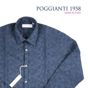 【43】 POGGIANTI 1958 ポジャンティ 1958 長袖シャツ メンズ 刺繍 花柄 ネイビー 紺 並行輸入品 カジュアルシャツ 大きいサイズ|utsubostock