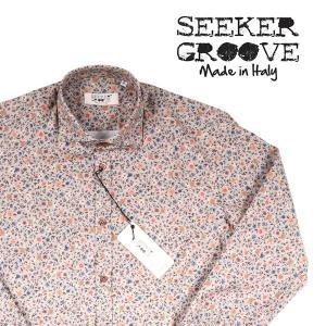 【L】 SEEKER GROOVE シーカーグルーブ 長袖シャツ メンズ 花柄 ブラウン 茶 並行輸入品 カジュアルシャツ|utsubostock