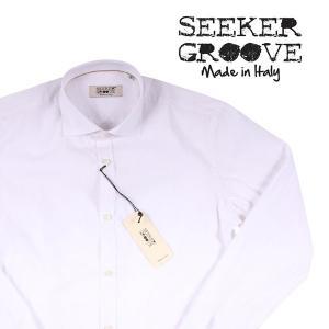 【L】 SEEKER GROOVE シーカーグルーブ 長袖シャツ メンズ ストライプ ホワイト 白 並行輸入品 カジュアルシャツ|utsubostock