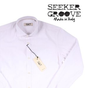 【M】 SEEKER GROOVE シーカーグルーブ 長袖シャツ メンズ ストライプ ホワイト 白 並行輸入品 カジュアルシャツ|utsubostock