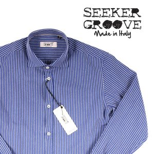 【M】 SEEKER GROOVE シーカーグルーブ 長袖シャツ メンズ ストライプ ネイビー 紺 並行輸入品 カジュアルシャツ|utsubostock