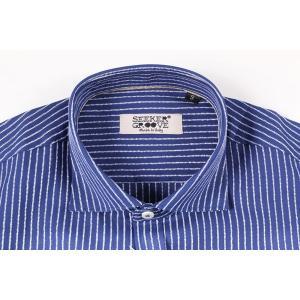 【M】 SEEKER GROOVE シーカーグルーブ 長袖シャツ メンズ ストライプ ネイビー 紺 並行輸入品 カジュアルシャツ|utsubostock|04