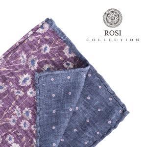 ROSI COLLECTION ロージコレクション ポケットチーフ メンズ リバーシブル 花柄 パープル 紫 並行輸入品|utsubostock