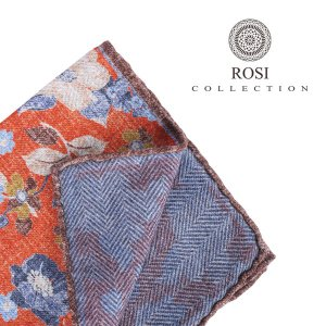 ROSI COLLECTION ロージコレクション ポケットチーフ メンズ リバーシブル 花柄 オレンジ 並行輸入品|utsubostock