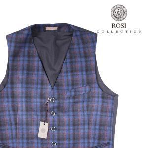 【52】 ROSI COLLECTION ロージコレクション ジレ メンズ 秋冬 チェック ブルー 青 並行輸入品 ベスト|utsubostock