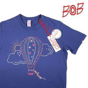 【L】 BOB ボブ Uネック半袖Tシャツ GENIUS メンズ 春夏 刺繍 ネイビー 紺 並行輸入品 トップス utsubostock