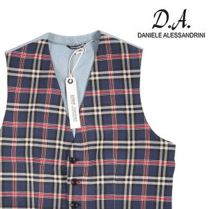 【48】 Daniele Alessandrini ダニエレアレッサンドリーニ ジレ メンズ 春夏 チェック ネイビー 紺 並行輸入品 ベスト utsubostock