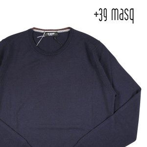 【XXXL】 +39 masq マスク 丸首セーター メンズ 秋冬 ネイビー 紺 並行輸入品 ニット 大きいサイズ|utsubostock