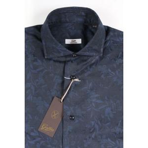 【38】 GALLIA ガリア 長袖シャツ メンズ 花柄 ネイビー 紺 並行輸入品 ビジネスシャツ|utsubostock|04