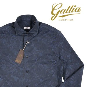 【44】 GALLIA ガリア 長袖シャツ メンズ 花柄 ネイビー 紺 並行輸入品 ビジネスシャツ 大きいサイズ|utsubostock