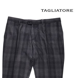 【54】 TAGLIATORE タリアトーレ パンツ 24QIZ114 メンズ 秋冬 シルク混 チェック ブラック 黒 並行輸入品 ズボン 大きいサイズ|utsubostock