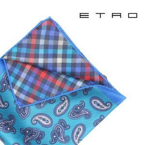 ETRO エトロ ポケットチーフ メンズ ペイズリー ブルー 青 並行輸入品|utsubostock
