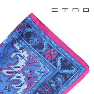 ETRO エトロ ポケットチーフ メンズ ブルー 青 並行輸入品|utsubostock