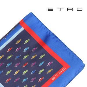 ETRO エトロ ポケットチーフ メンズ ネイビー 紺 並行輸入品|utsubostock