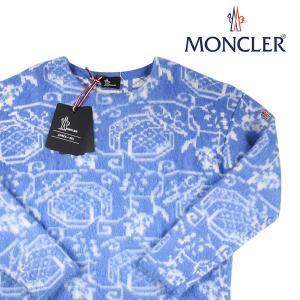 【L】 MONCLER モンクレール 丸首セーター D2097 メンズ 秋冬 モヘア混 ブルー 青 並行輸入品 ニット 大きいサイズ|utsubostock
