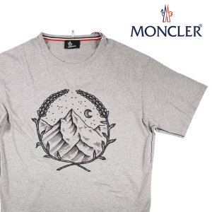【L】 MONCLER モンクレール Uネック半袖Tシャツ SCOM2018474 メンズ 刺繍 グレー 灰色 並行輸入品 トップス|utsubostock