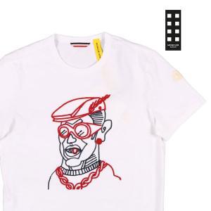【L】 MONCLER モンクレール Uネック半袖Tシャツ  メンズ 春夏 ホワイト 白 並行輸入品 トップス utsubostock