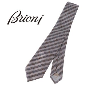 BRIONI ブリオーニ ネクタイ 6458 メンズ ペイズリー グレー 灰色 並行輸入品|utsubostock