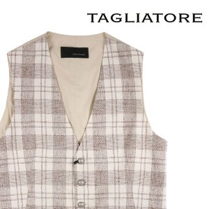 【48】 TAGLIATORE タリアトーレ ジレ 77QEG146 メンズ チェック ホワイト 白 並行輸入品 ベスト utsubostock