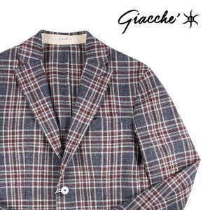 【48】 GIACCHE ジャッケ ジャケット メンズ チェック ネイビー 紺 並行輸入品 アウター トップス|utsubostock