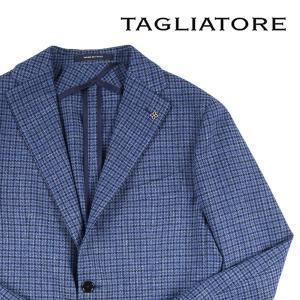 【54】 TAGLIATORE タリアトーレ ジャケット 1SMC23B メンズ 春夏 シルク混 チェック ブルー 青 並行輸入品 アウター トップス 大きいサイズ utsubostock