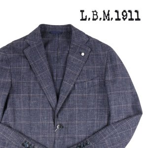 【48】 L.B.M.1911 エルビーエム ジャケット 95824/1 メンズ 春夏 リネン混 チェック ネイビー 紺 並行輸入品 アウター トップス|utsubostock