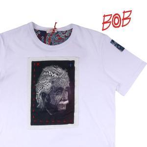 【M】 BOB ボブ Uネック半袖Tシャツ A137 メンズ 春夏 ホワイト 白 並行輸入品 トップス utsubostock