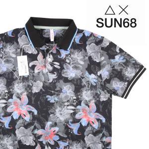 【M】 SUN68 サンシックスティーエイト 半袖ポロシャツ メンズ 春夏 花柄 ブラック 黒 並行輸入品 トップス utsubostock