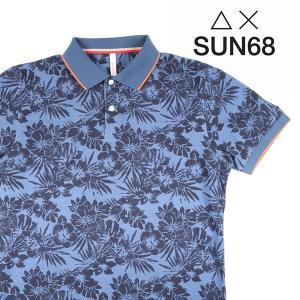 【XXL】 SUN68 サンシックスティーエイト 半袖ポロシャツ メンズ 春夏 花柄 ネイビー 紺 並行輸入品 トップス 大きいサイズ utsubostock