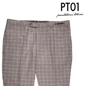 【56】 PT01 ピーティー ゼロウーノ ウールパンツ TG24 メンズ 秋冬 チェック ベージュ 並行輸入品 ズボン 大きいサイズ|utsubostock