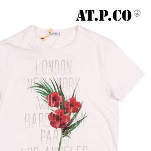 【M】 AT.P.CO アティピコ Uネック半袖Tシャツ メンズ 春夏 花柄 ホワイト 白 並行輸入品 トップス|utsubostock