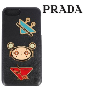 PRADA プラダ 携帯ケース iphone7plus/8plus メンズ ブラック 黒 レザー 並行輸入品|utsubostock