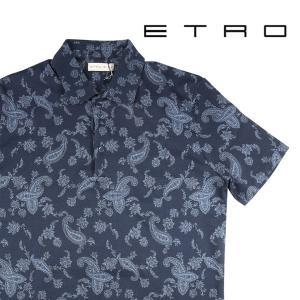 【L】 ETRO エトロ 半袖ポロシャツ メンズ 春夏 ペイズリー ネイビー 紺 並行輸入品 トップス|utsubostock