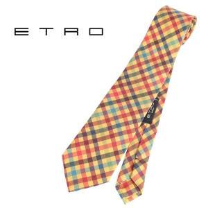 ETRO エトロ ネクタイ メンズ チェック イエロー 黄 並行輸入品|utsubostock