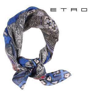 ETRO エトロ ストール メンズ 春夏 シルク混 ペイズリー ブルー 青 並行輸入品|utsubostock