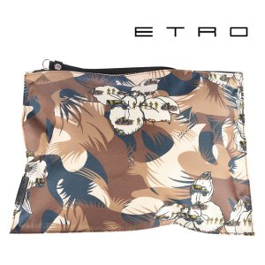 ETRO エトロ クラッチバッグ メンズ 花柄 ブラウン 茶 並行輸入品|utsubostock