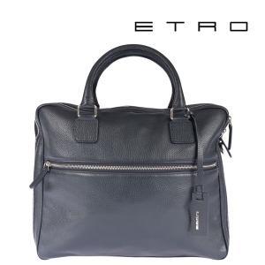 ETRO エトロ ブリーフケース メンズ レザー ネイビー 紺 レザー 並行輸入品|utsubostock