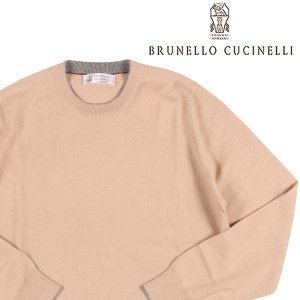 【46】 BRUNELLO CUCINELLI ブルネロクチネリ 丸首セーター M2200100 メンズ 秋冬 カシミヤ100% ベージュ 並行輸入品 ニット|utsubostock