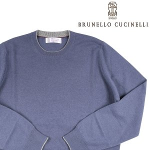 BRUNELLO CUCINELLI(ブルネロクチネリ) 丸首セーター M2200100 ブルー 46 22147bl 【W22147】|utsubostock