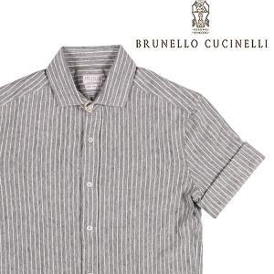 【S】 BRUNELLO CUCINELLI ブルネロクチネリ 半袖シャツ MTS436697 メンズ 春夏 リネン混 ストライプ グレー 灰色 並行輸入品 カジュアルシャツ|utsubostock