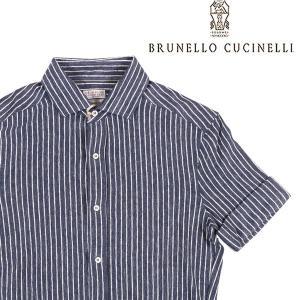 【XS】 BRUNELLO CUCINELLI ブルネロクチネリ 半袖シャツ MTS436697 メンズ 春夏 リネン混 ストライプ ネイビー 紺 並行輸入品 カジュアルシャツ|utsubostock