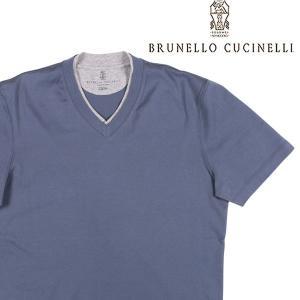 【XXL】 BRUNELLO CUCINELLI ブルネロクチネリ Vネック半袖Tシャツ M0T611334 メンズ 春夏 ネイビー 紺 並行輸入品 トップス 大きいサイズ|utsubostock