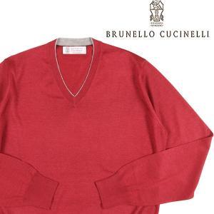 【44】 BRUNELLO CUCINELLI ブルネロクチネリ Vネックセーター M2300162 メンズ カシミヤ混 レッド 赤 並行輸入品 ニット|utsubostock