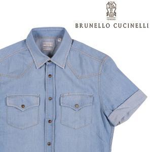 【S】 BRUNELLO CUCINELLI ブルネロクチネリ 半袖シャツ MQ6494038 メンズ 春夏 ブルー 青 並行輸入品 カジュアルシャツ|utsubostock