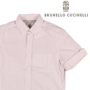 【S】 BRUNELLO CUCINELLI ブルネロクチネリ 半袖シャツ ME6023018 メンズ 春夏 ストライプ ホワイト 白 並行輸入品 カジュアルシャツ|utsubostock